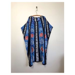 vtg Asian tie dye kaftan kimono 90s mumu dress